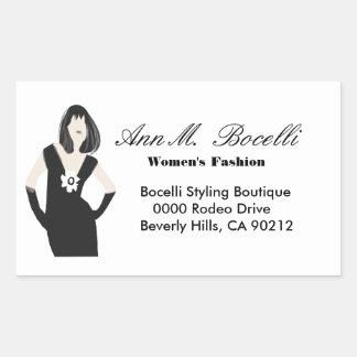 Sticker Rectangulaire Concepteur moderne de robe de mode de modèle noir