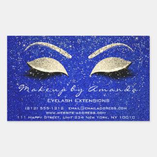 Sticker Rectangulaire Confettis bleus d'or de beauté du maquillage RSVP