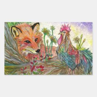Sticker Rectangulaire Coq et Fox