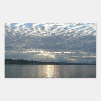 Sticker Rectangulaire Coucher du soleil dans le paysage marin de