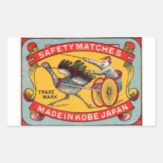 Sticker Rectangulaire Course d'attelages antique Kobe d'autruche