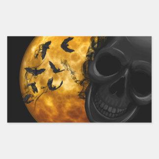 Sticker Rectangulaire Crâne et battes mauvais à la pleine lune Halloween
