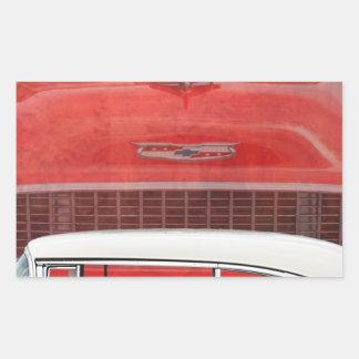 Sticker Rectangulaire Cru blanc rouge de Dodge de voitures de Bel Air