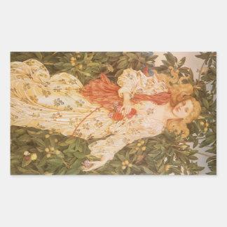 Sticker Rectangulaire Déesse des fleurs et des fleurs, Flora par Morgan