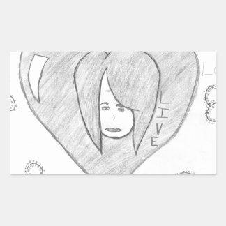 Sticker Rectangulaire Dessin vivant d'amour de paix d'anges