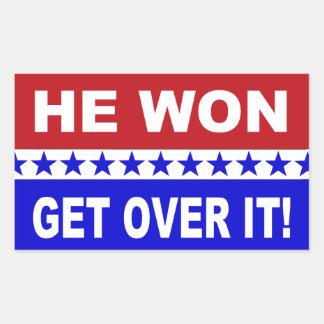 Sticker Rectangulaire Donald Trump qu'il a gagné obtiennent au-dessus de