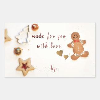 Sticker Rectangulaire Donner de cadeau de cuisson de Noël d'homme de