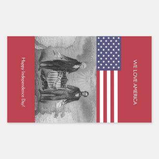 Sticker Rectangulaire Drapeau américain de George Washington Abraham