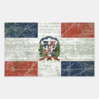 STICKER RECTANGULAIRE DRAPEAU DE LA RÉPUBLIQUE DOMINICAIN