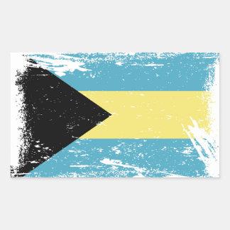 Sticker Rectangulaire Drapeau grunge des Bahamas