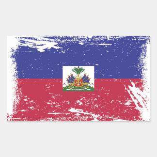 Sticker Rectangulaire Drapeau grunge du Haïti