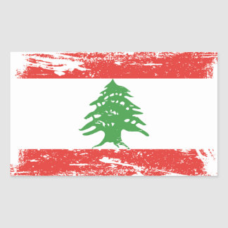 Sticker Rectangulaire Drapeau grunge du Liban