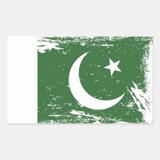 Sticker Rectangulaire Drapeau grunge du Pakistan