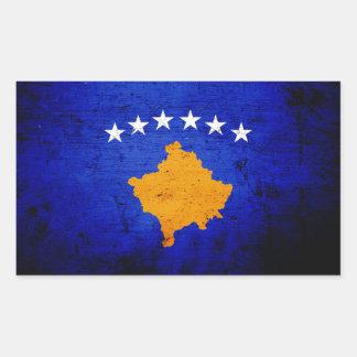 Sticker Rectangulaire Drapeau grunge noir de Kosovo