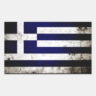Sticker Rectangulaire Drapeau grunge noir de la Grèce