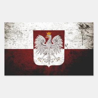 Sticker Rectangulaire Drapeau grunge noir de la Pologne