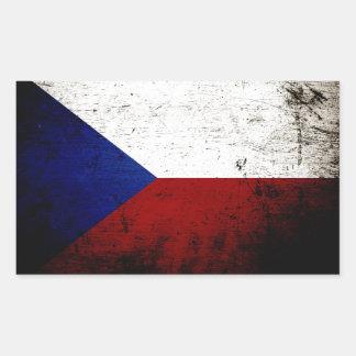 Sticker Rectangulaire Drapeau grunge noir de République Tchèque
