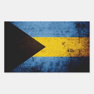 Sticker Rectangulaire Drapeau grunge noir des Bahamas