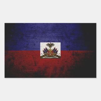 Sticker Rectangulaire Drapeau grunge noir du Haïti