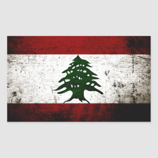 Sticker Rectangulaire Drapeau grunge noir du Liban