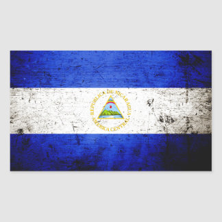 Sticker Rectangulaire Drapeau grunge noir du Nicaragua