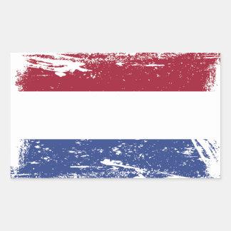 Sticker Rectangulaire Drapeau néerlandais grunge