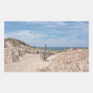 Sticker Rectangulaire Dunes patinées de barrière et de sable de plage