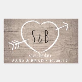 Sticker Rectangulaire Économies élégantes de coeur en bois rustique les