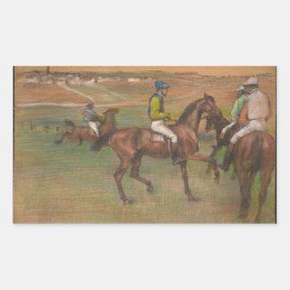 Sticker Rectangulaire Edgar Degas - chevaux de course