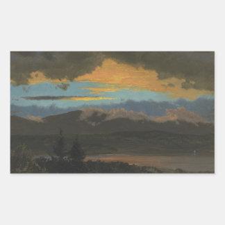 Sticker Rectangulaire Église de Frederic Edwin - coucher du soleil à