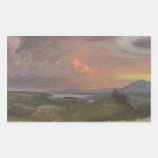 Sticker Rectangulaire Église de Frederic Edwin - coucher du soleil dans
