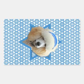 Sticker Rectangulaire Étoile de David de Hanoukka - caniche - abricot