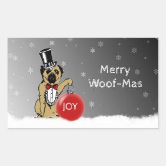 Sticker Rectangulaire Expositions canines de monsieur Pug vos souhaits