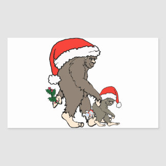 Sticker Rectangulaire Famille de Bigfoot de Noël