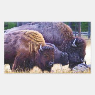 Sticker Rectangulaire Famille de bison américain