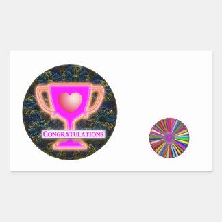 Sticker Rectangulaire FÉLICITATIONS : Décor de roues de trophée et