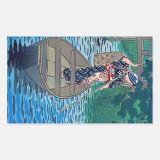 Sticker Rectangulaire Femme japonaise orientale fraîche de pêche de