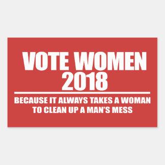 STICKER RECTANGULAIRE FEMMES 2018 DE VOTE