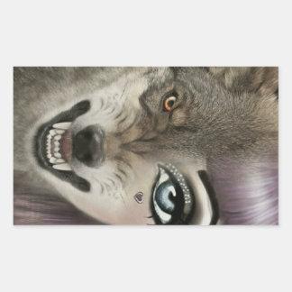 Sticker Rectangulaire Fille de loup de bande dessinée