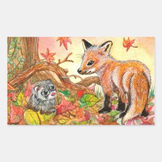 Sticker Rectangulaire Fox et furet dans le feuille d'automne