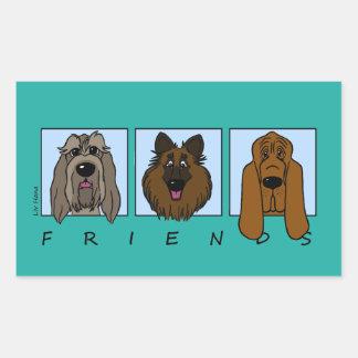 Sticker Rectangulaire Friends : Spinone Italiano, Tervueren, Bloodhound