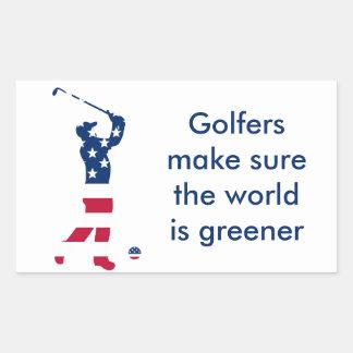 Sticker Rectangulaire Golfeur de drapeau américain de golf des