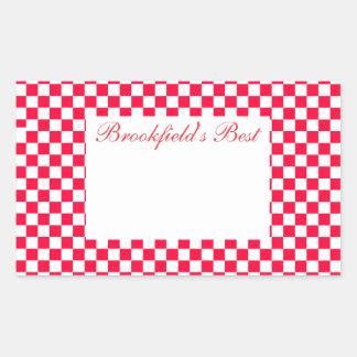 Sticker Rectangulaire Grand guingan rouge de mise en boîte de label