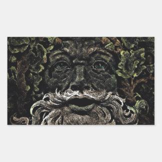 Sticker Rectangulaire greenman primitif d'un dieu de forêt de feuillage