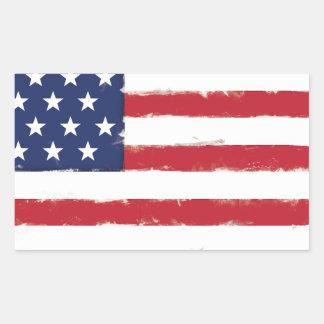 Sticker Rectangulaire Grunge patriotique de drapeau américain vieille