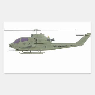 Sticker Rectangulaire Hélicoptère d'Apache dans le profil de vue de côté