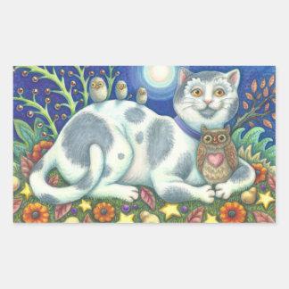 Sticker Rectangulaire Hiboux et la feuille d'AUTOCOLLANTS de CAT d'art