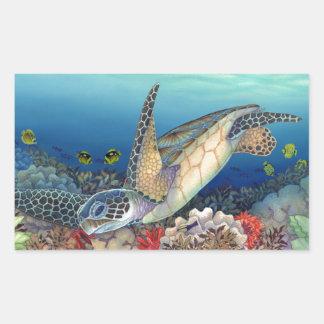 Sticker Rectangulaire Honu (tortue de mer verte)