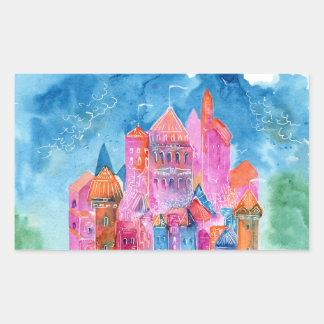Sticker Rectangulaire Illustration d'aquarelle d'imaginaire de château