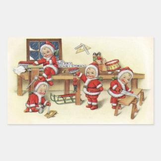Sticker Rectangulaire Illustration vintage mignonne de Père Noël de bébé